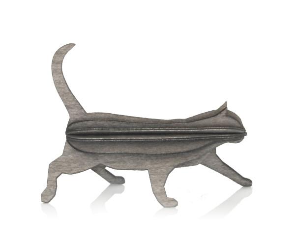 3d-Katze 12 cm holz postkarte, grau