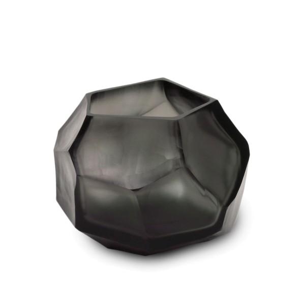 Guaxs Glas Teelicht Cubistic indigo smokegrey