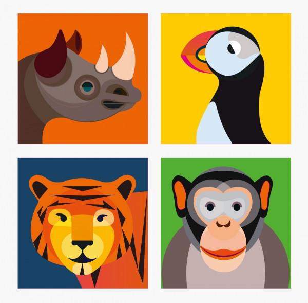 Magnet-Set Rhino, Papageientaucher, Tiger und Affe