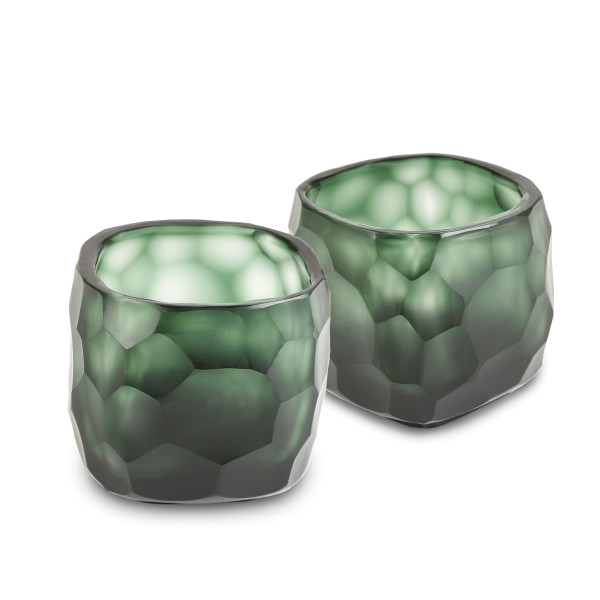 Exklusives mundgeblasemes und handgeschliffenes Glasteelicht von Guaxs in der Farbkombination light steelgrey-black steelgrey 8cm