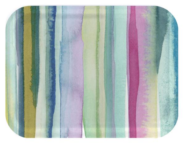 Tablett Lomond von Bluebellgray, 43 x 33 cm, rechteckig, Birkenholz, bunte Streifen