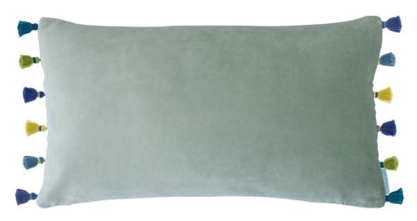 bluebellgray Samt-Kissen Peppermint Tassel minzgrün mit bunten Quasten 50 x 30 cm