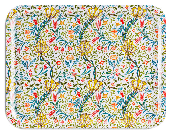 Åry Trays Tablett Flora William Morris Birkenholz 43 x 33 cm