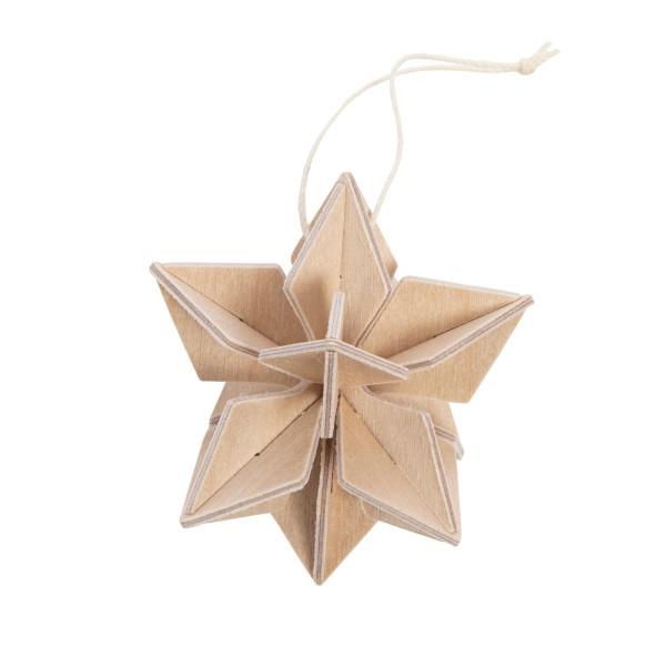 Stern zum Aufhängen am Weihnachtsbaum natur Holz 3 D Postkarte