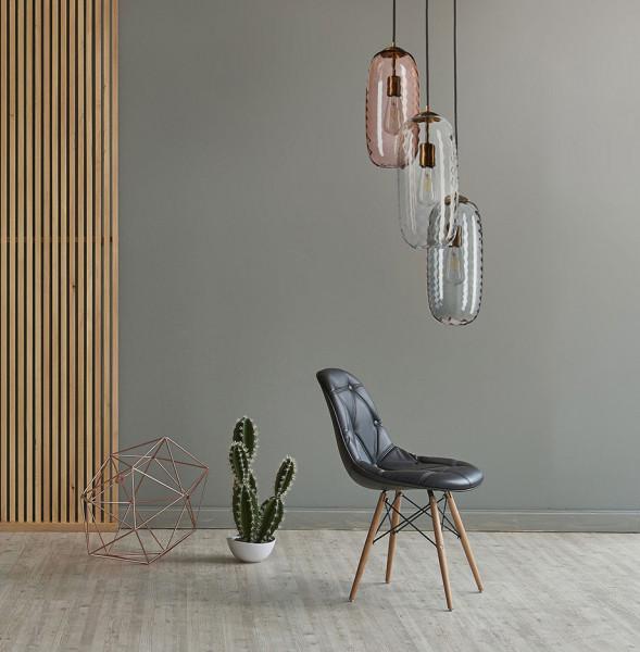 Glasleuchten-Serie Boho mundgeblasene 3er-Pendelleuchte, Glas Farbmix Metallelemente Messing dunkel