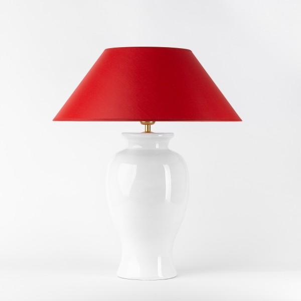 Handgefertigte Keramik-Tischlampe Klassik weiß mit rotem Schirm