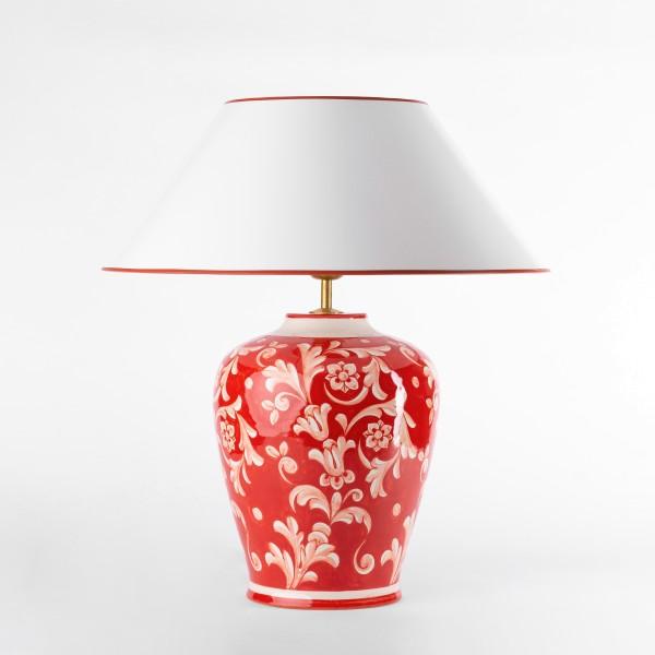 Rote Keramik Vasenlampe, handbemalt in Italien