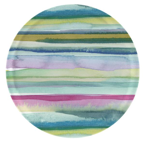 bluebellgray Tablett Lomond 38 cm, rund, Birkenholz, bunte Streifen