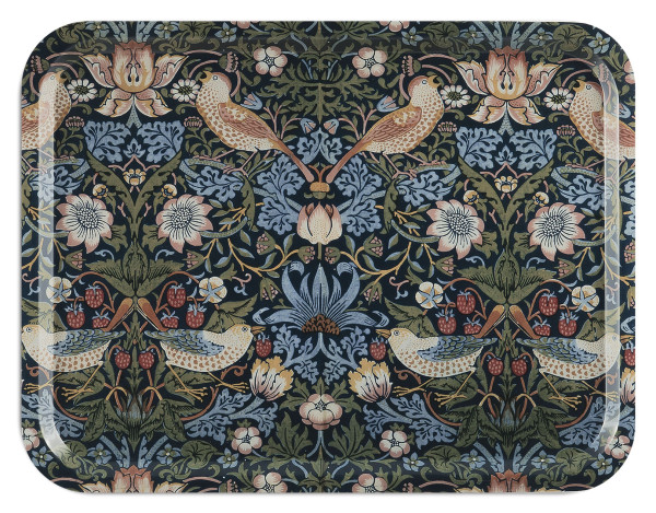 Åry Trays Tablett Strawberry Theif  von William Morris 43 x 33 cm, rund, Birkenholz