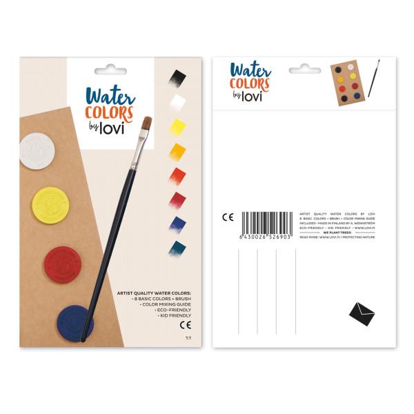 8 Künstler-Wasserfarben als Postkarte
