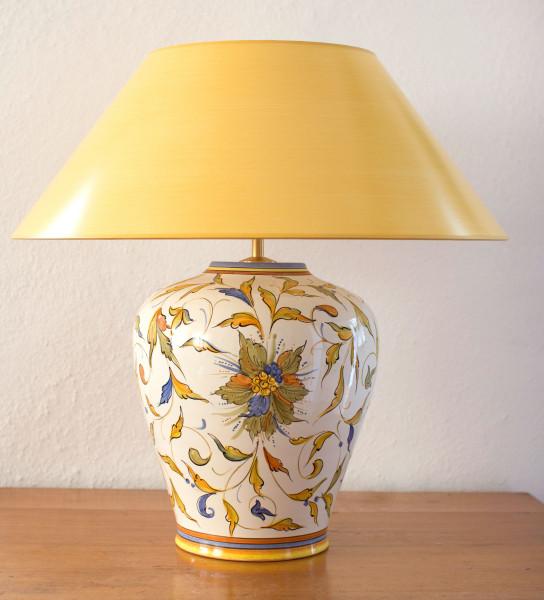 Tischlampe Raffaello mit gelbem Strichlackschirm 46 cm