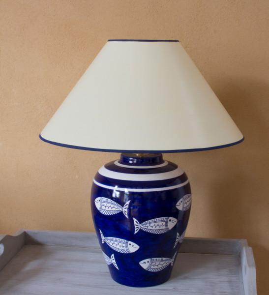 Keramik Vasenlampe Blauweiss Fische handbemalt in Italien