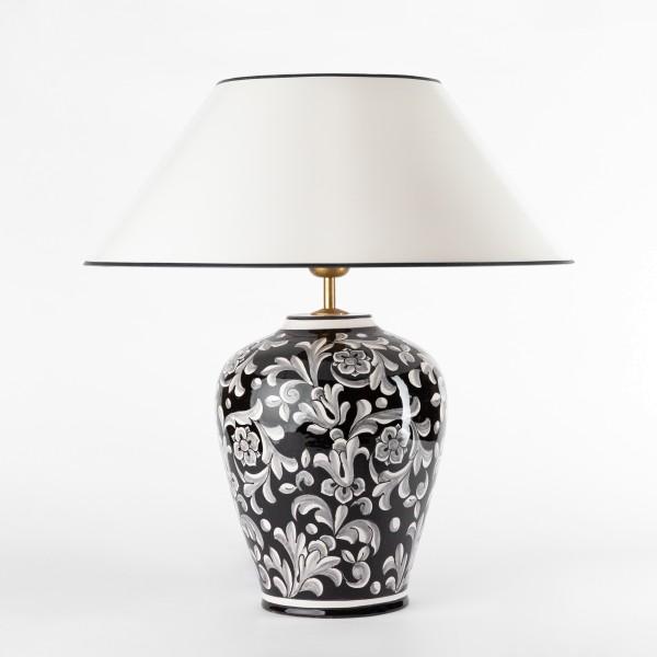 Edle Schwarz-weisse Vasenlampe-Tischlampe handgemalte Keramik, Strichlackschirm