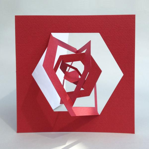 3D-Bauhaus Postkarte Hexagon  ausgeklappt, rot