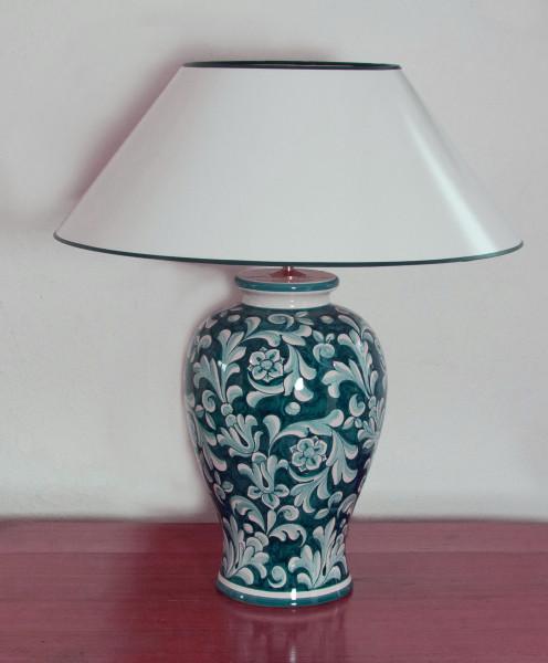 Tischlampe Deruta Pavone Klassik mit Strichlackschirm