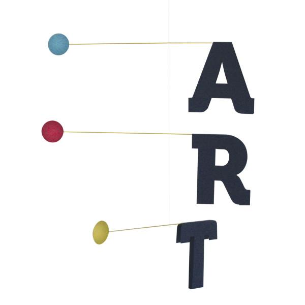 Dänisches Design Mobile mit dunkelblauen Buchstaben ART