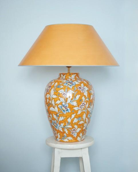 Handgemalte grosse Hockerleuchte aus Italien, floral, orange