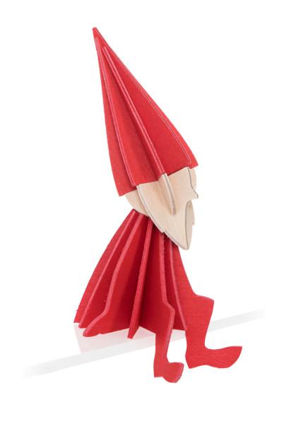 Lovi  3D wichtel als Aufsteller 8 cm Birkenholz rot