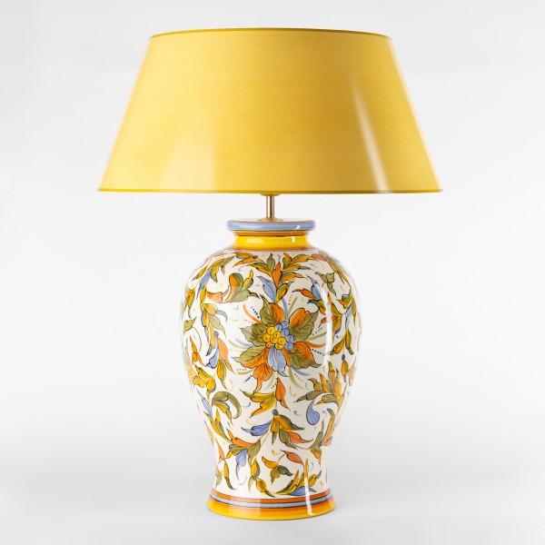 Handgemalte Tischlampe aus Italien in klassischer Vasenform, floral, gelb orange grün