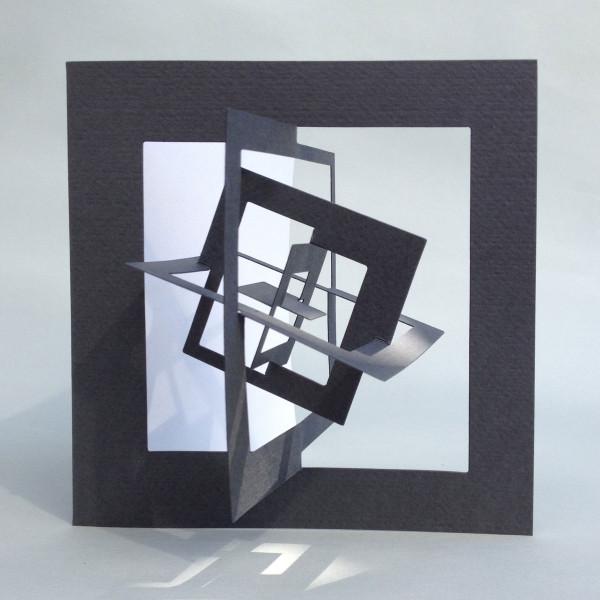 3D-Bauhaus Postkarte Quadrat  ausgeklappt, grau