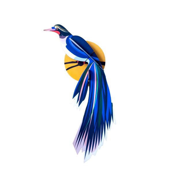 3 D Wanddeko-Paradiesvogel-Flores-blau