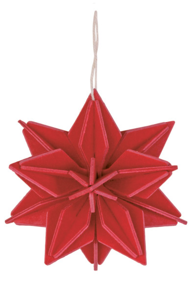 Stern zum Aufhängen am Weihnachtsbaum rot Holz 3 D Postkarte