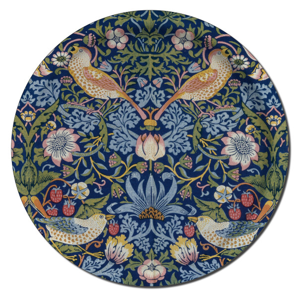 Åry Trays Tablett Strawberry Theif  von William Morris 38 cm, rund, Birkenholz