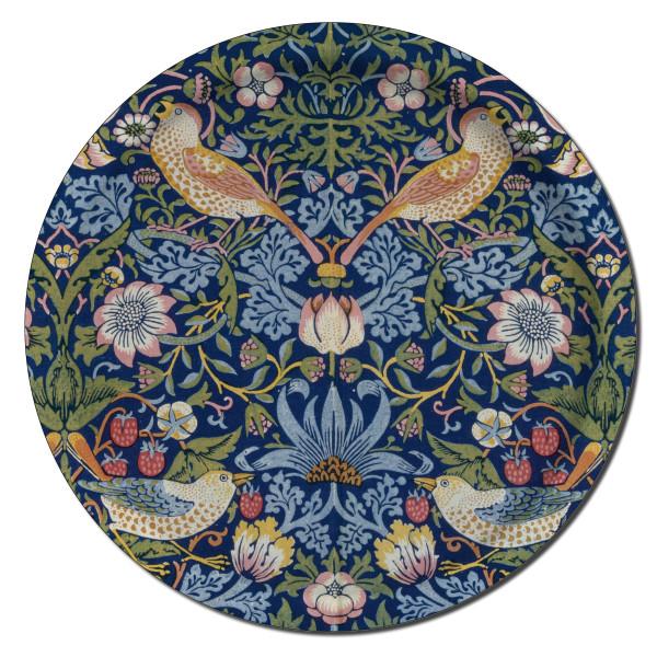 Åry Trays Tablett Strawberry Theif  von William Morris 38 cm, rund, Birkenholz