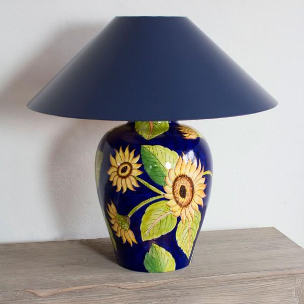 Keramik Tischlampe Sonnenblumen handgemalt
