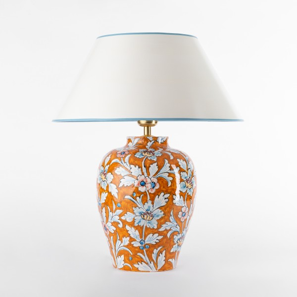 Tischlampe Keramik orange florales Design