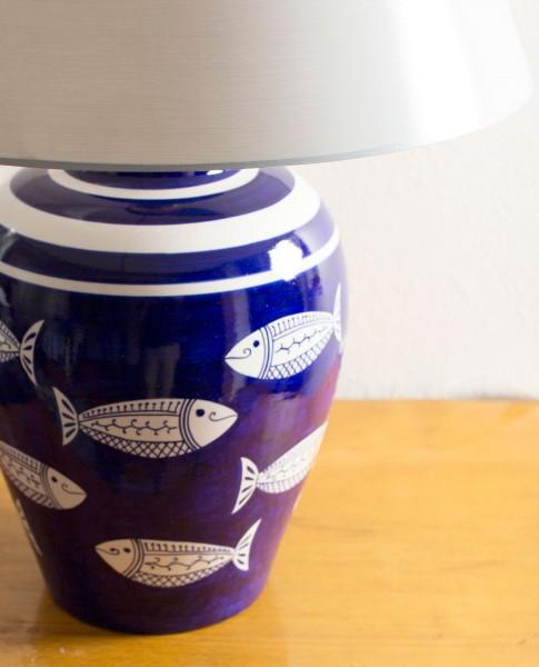 Keramik Tischlampe Blauweiss fische handbemalt in Italien
