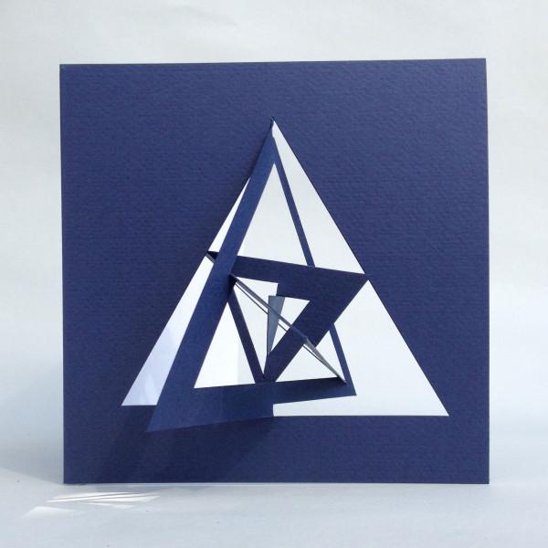 3D-Bauhaus Postkarte Triangel ausgeklappt, Blau