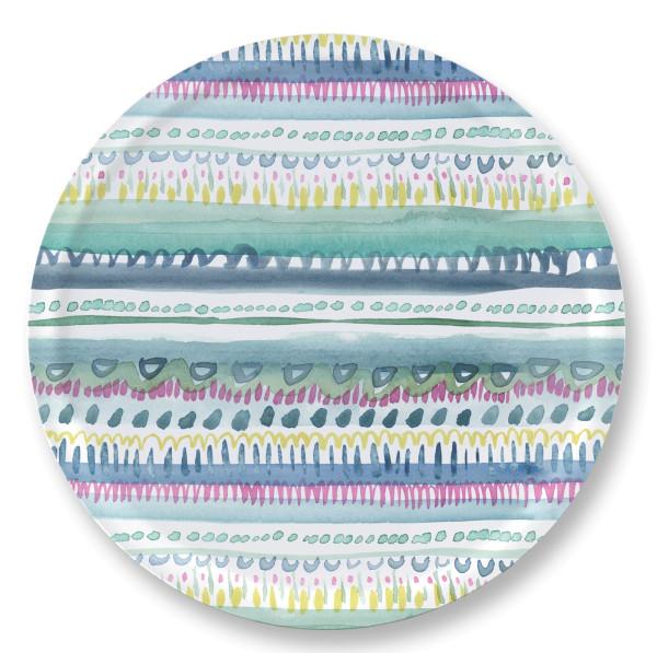 bluebellgray Tablett Nina 38 cm, rund, Birkenholz, bunte Streifen, Punkte