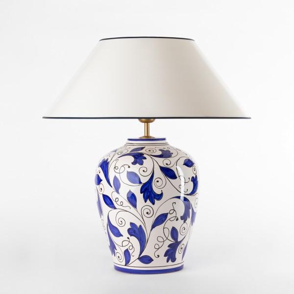 Blauweisse Tischleuchte keramik mit strichlackschirm