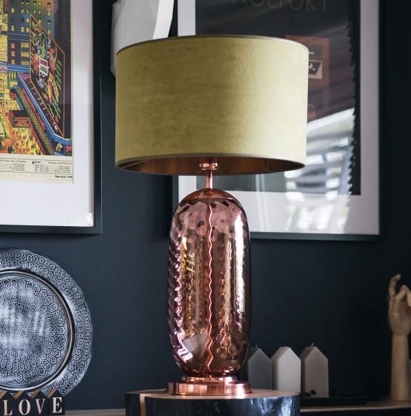 Mundgeblasene Tischlampe Boho 73 cm Fuss Dusty Pink-Kupfer - Schirm zartolive  Innen braun auf Kommode