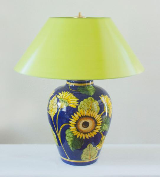 Grosse Hockerlampe Girasole mit maigrünem verstellbarem Schirm 69 cm