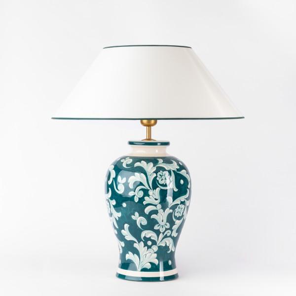 Pfauengruene handgemalte Tischleuchte, Vasenleuchte mit Strichlackschirm, gesamthoehe 56 cm