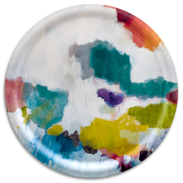 bluebellgray Tablett Nevis rund 38 cm, Birkenholz, bunte Farbpalette