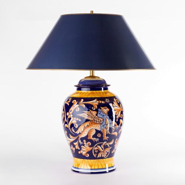Dunkelblau goldene Tischlampe 63cm, handgemalt mit Strichlackschirm