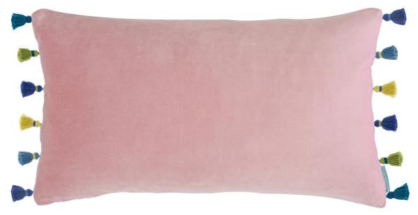 bluebellgray Samt Deko-Kissen Blush Tassel zartrosa mit bunten Quasten 50x30cm