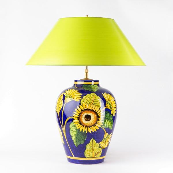 Sonneblumen auf handgemalter vasenleuchte, Hockeleuchte mit maigünem handgefertigtem Lampenschirm