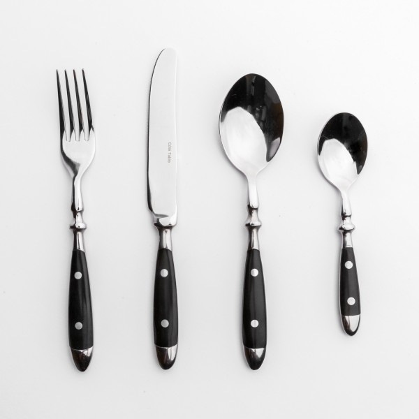 Französisches 4-teiliges Bistro-, Backen-Besteck-Set, Bakelit schwarz edelstahl