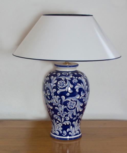 Tischlampe Deruta Blu Klassik mit Strichlackschirm