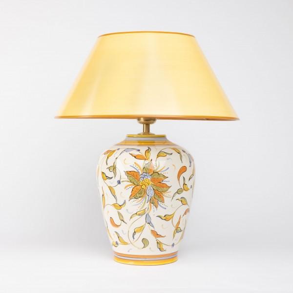 Handgemalte Tischlampe aus Italien gelbe Blumen