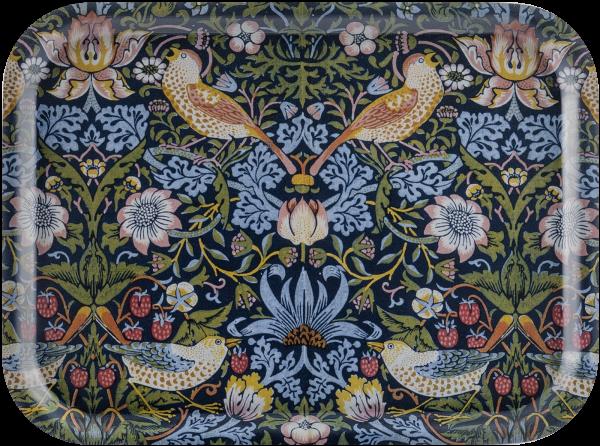 Åry Trays Tablett Strawberry Theif  von William Morris 38 cm, Birkenholz 27 x 20cm