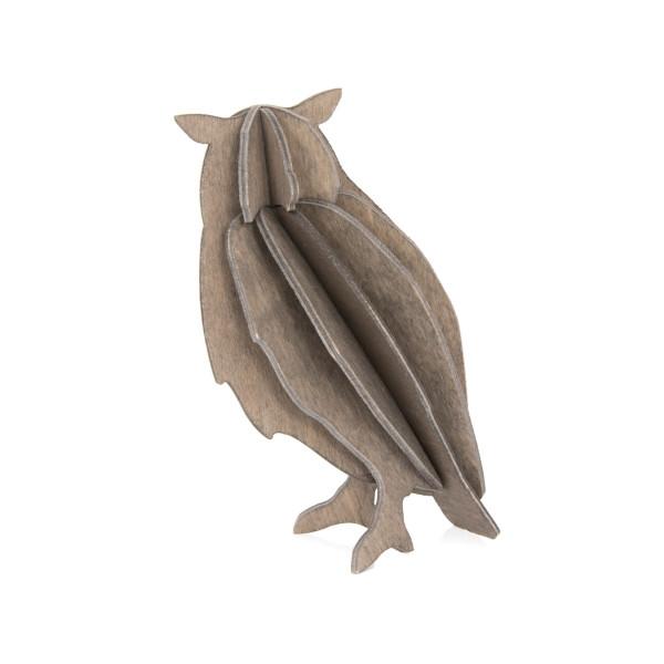 Lovi  3D Eule als Aufsteller 9,5 cm cm Birkenholz grau