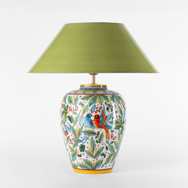 Keramik-Tischlampe-Primavera-Amphora-strichlackschirm laubgrün