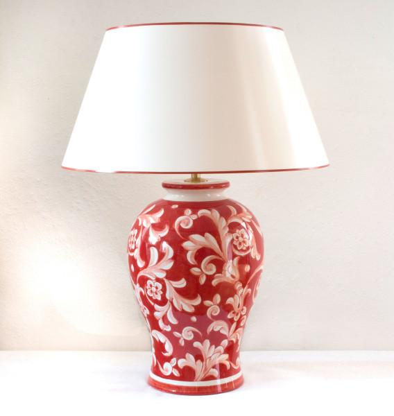 Rote Keramik Vasenlampe, handbemalt in Italien mit handgestrichenem Lackschirm