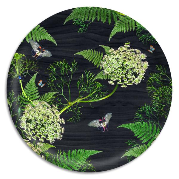 Åry Trays Tablett Dill Black Wood 38 cm, rund, Birkenholz