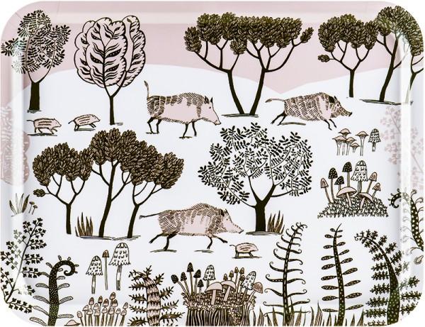Tablett mit illustrierten Wildschweinen im Wald von Lush Design